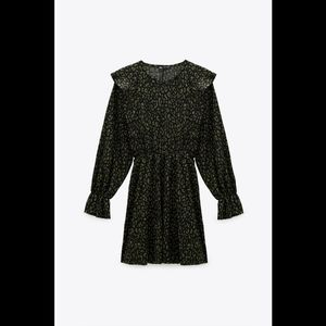 Zara Animal Print Long Sleeve Mini Dress NWT